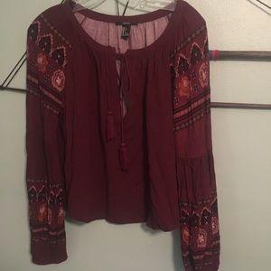 F21 burgundy hippie blouse